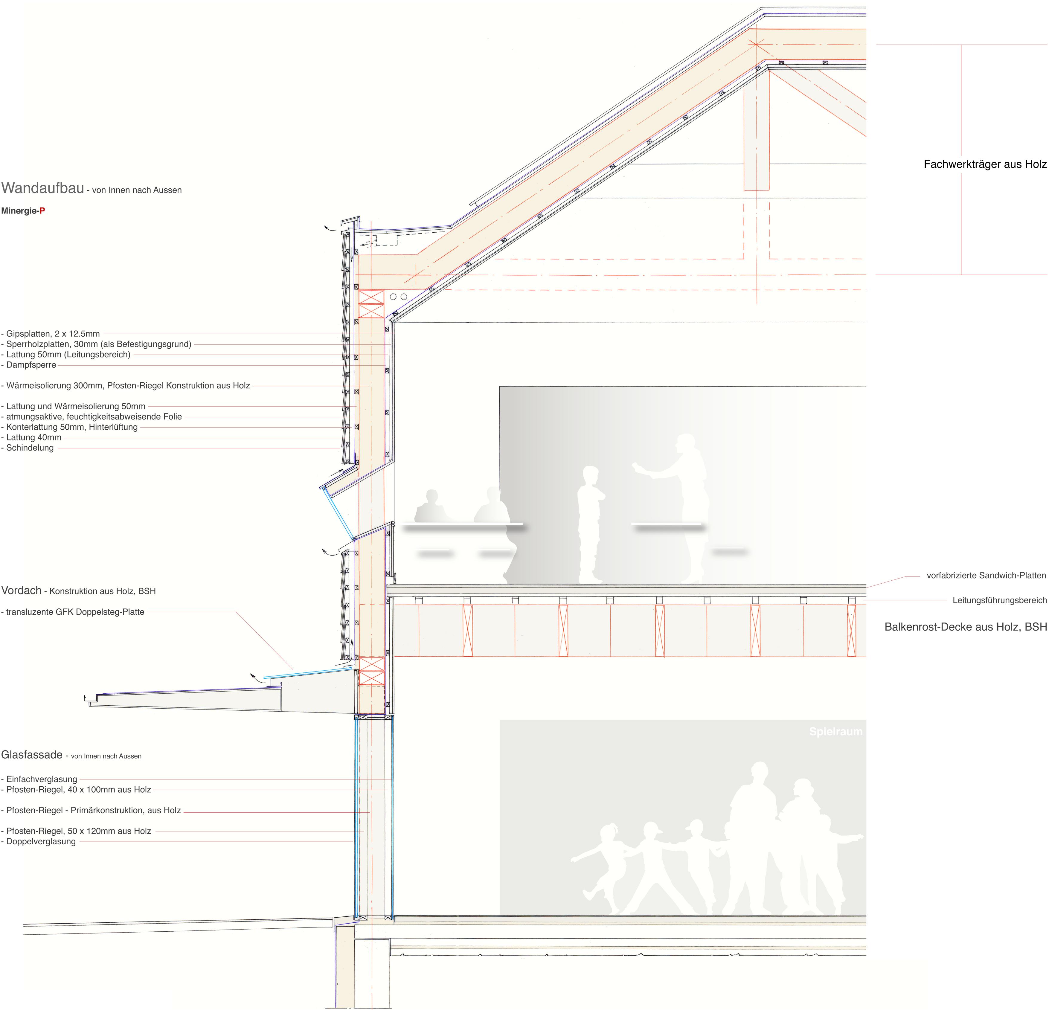 Holzbau detail decke  Schulhaus – Allschwil – Basel-Landschaft | Ben Huser