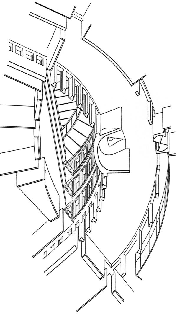 Axonometrie, Atrium, Blick von unten nach oben